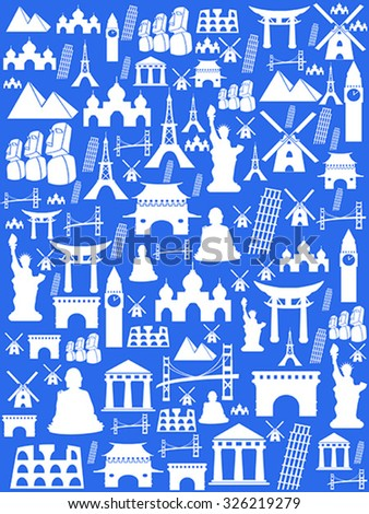 Seamless travel monuments famous places background - stock vector