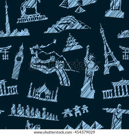 Seamless travel pattern. Vector background with monuments from all over the world - stock vector
