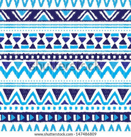 Seamless trend blue aztec vintage folklore background pattern in vector  - stock vector