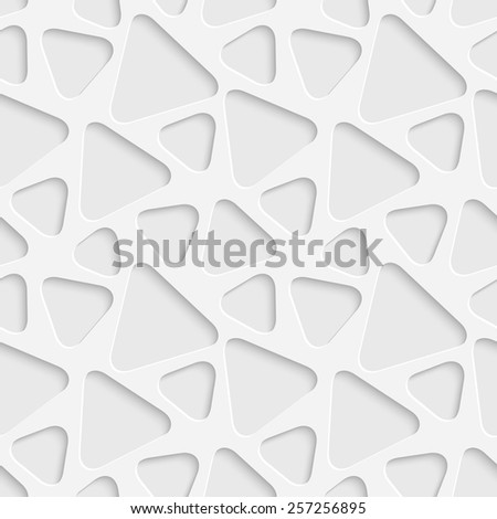 Seamless Triangle Pattern. Vector Soft Background. Regular White Texture - stock vector