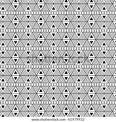 Seamless, triangular vector pattern- b/w. - stock vector