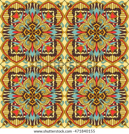 Seamless tribal abstract pattern for printing on fabric or paper. Hand drawn background.