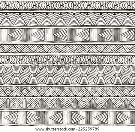 Seamless tribal pattern. Hand-drawn background. EPS 8 vector illustration. - stock vector