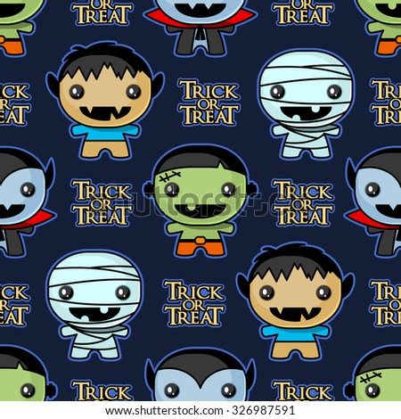 Seamless Trick or Treat background with cute Halloween characters - stock vector