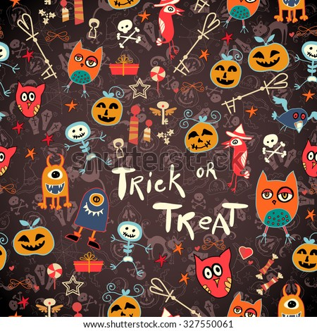 Seamless trick-or-treat pattern - stock vector