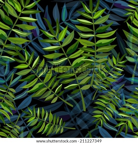 Seamless tropical background - stock vector