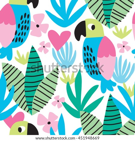 seamless tropical colorful parrot pattern vector illustration - stock vector