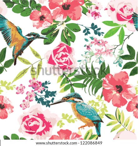 seamless tropical floral pattern background - stock vector