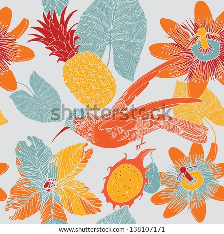 Seamless tropical floral pattern with humming birds.. Vector illustration. - stock vector