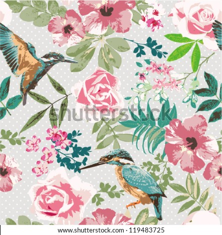 seamless tropical floral with birds on dot background pattern - stock vector