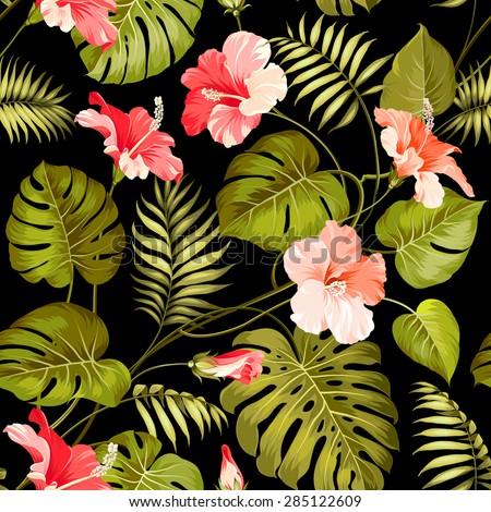 Seamless tropical flower. Blossom flowers for seamless pattern background. Vector illustration. - stock vector