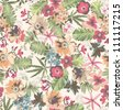seamless tropical flower pattern on background - stock photo