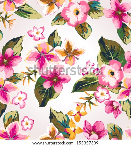 seamless tropical flower vector pattern - stock vector