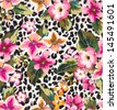 seamless tropical flower with leopard background vector pattern - stock vector