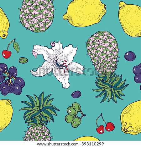 Seamless tropical hand drawn fruit and flower pattern in vector - stock vector