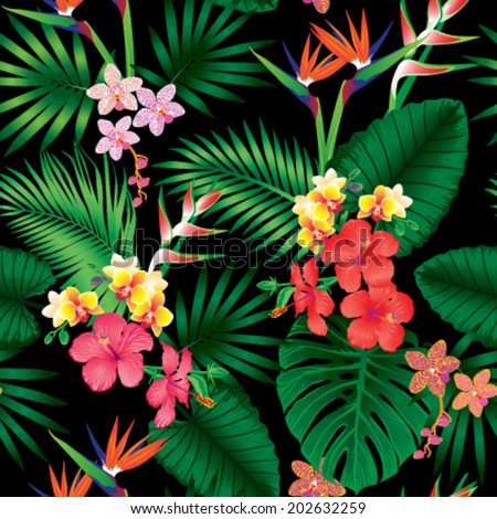 Seamless tropical jungle floral pattern with beautiful orchids,strelitzias and hibiscus flowers. Vector repeat illustration. - stock vector