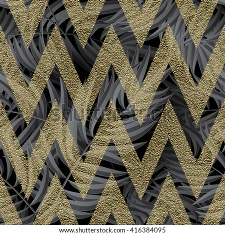 Seamless tropical jungle floral pattern with palm fronds. Vector illustration. Palm leaves pattern on black background and gold glitter zigzag pattern - stock vector