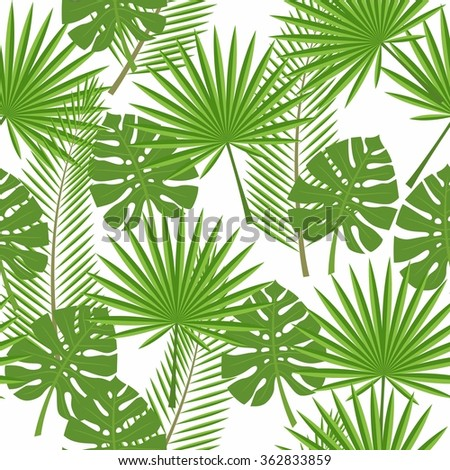 seamless tropical leaves  - palm, monstera - stock vector