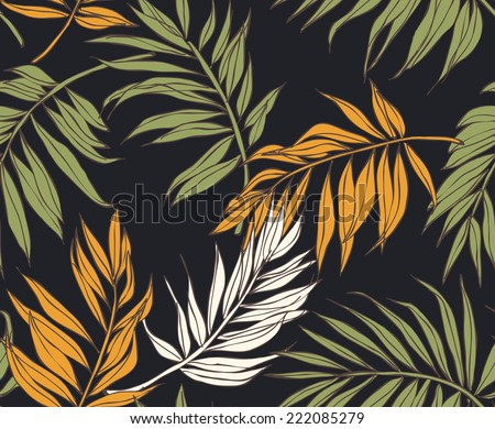 seamless tropical leaves vector patterns - stock vector