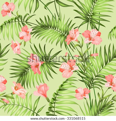 Seamless tropical pattern. Blossom flowers for seamless pattern background. Beautiful tropical flowers. Tropical flower garland isolated over green background. Vector illustration. - stock vector