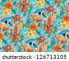 Seamless tropical pattern with birds. - stock vector