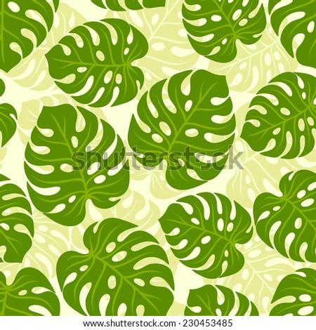 Seamless tropical pattern with stylized monstera leaves. - stock vector