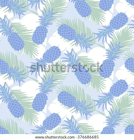 Seamless tropical pineapple pattern - stock vector