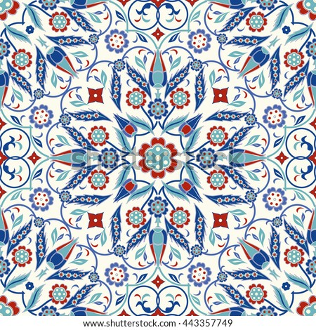 Seamless turkish colorful pattern. Endless pattern can be used for ceramic tile, wallpaper, linoleum, textile, invitation card, wrapping paper,web page background. - stock vector
