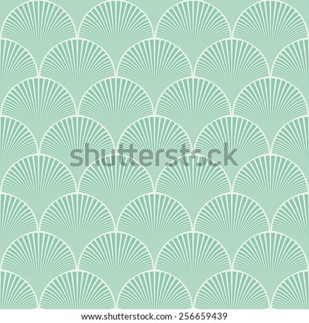 Seamless turquoise japanese art deco floral waves pattern vector - stock vector