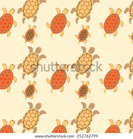 Seamless turtles colored. Vector illustration - stock vector