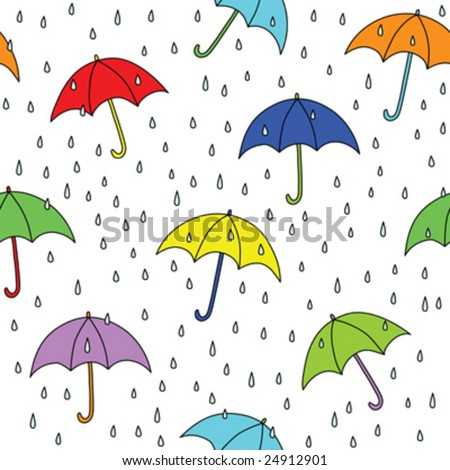 Seamless umbrella and raindrops pattern. Simply drop swatch into swatch palette to create the fill.