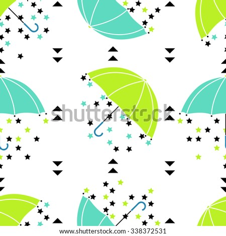 Seamless umbrella pattern with drops, stars and triangles. Vector geometric rainy background.  - stock vector