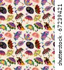 seamless umbrellas pattern - stock vector