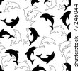 Seamless uncolored background with dolphins on white - stock photo