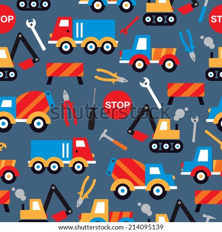 Seamless under construction crane trucks digger and tools illustration kids background pattern in vector - stock vector