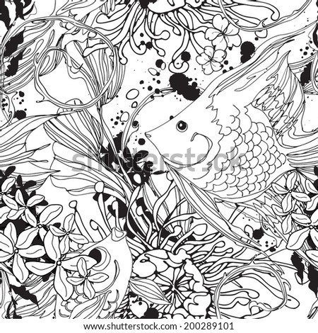 Seamless underwater pattern with scalar fish black and white - stock vector