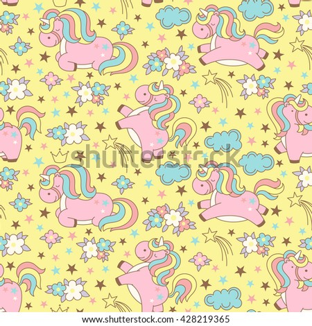Seamless unicorn pattern with clouds, stars, crown and flowers on yellow background. Cute cartoon background in japanese style. Vector illustration. - stock vector