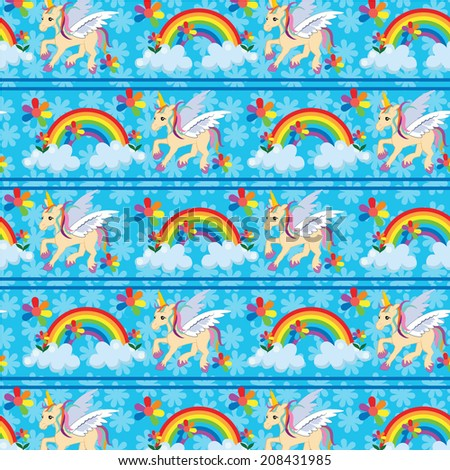 seamless unicorn rainbow background vector pattern