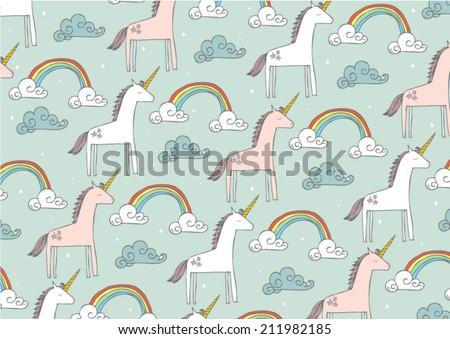 seamless unicorn vector/illustration - stock vector