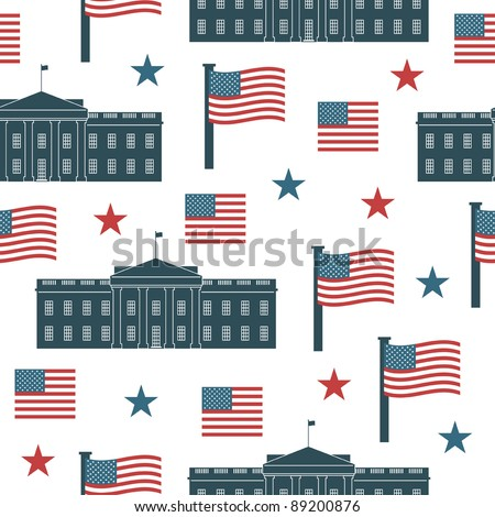 seamless usa pattern with white house and flags, with clipping path