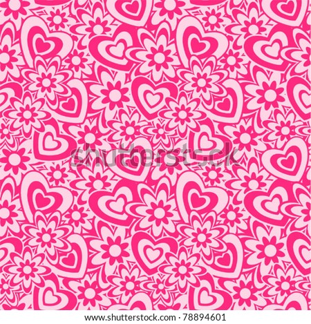 Seamless Valentin's Day background / pattern with hearts and flowers - stock vector