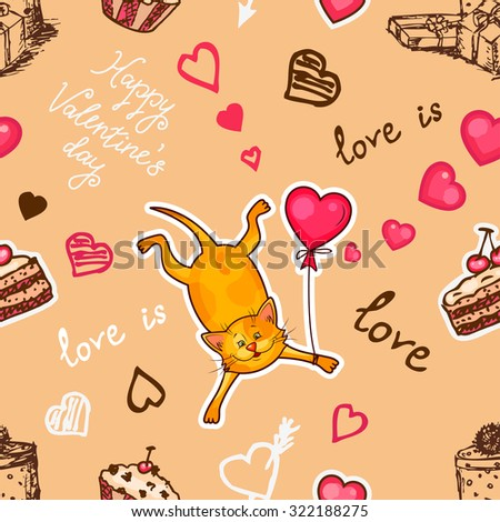 Seamless valentine background with cute cat. Use it for childrens wallpaper, gift wrapping, prints for baby clothes, prints for bedclothes, greeting cards, Valentines Day design - stock vector