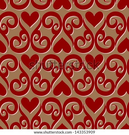 Seamless valentine  pattern with ornaments and hearts - stock vector