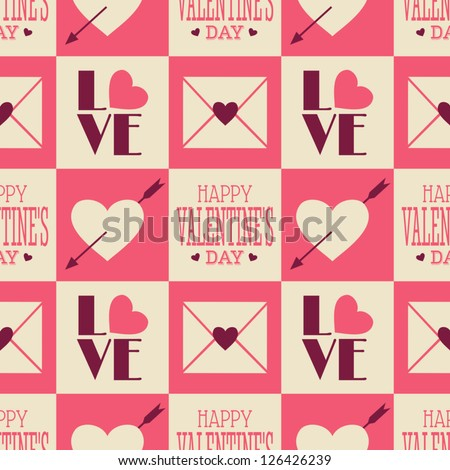 Seamless Valentine's Day pattern in vintage style. - stock vector