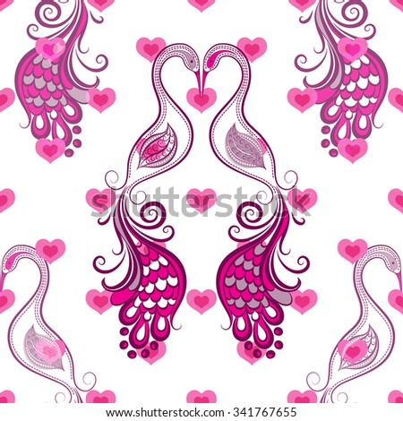 Seamless valentine vintage pattern with stylized birds and hearts (vector eps 10) - stock vector