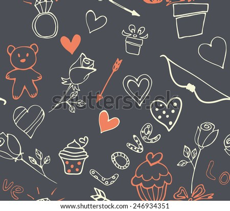 Seamless valentines day pattern wiht heart, cupcake, rose, bear, arrow, bow, ring, Vector eps 10 - stock vector