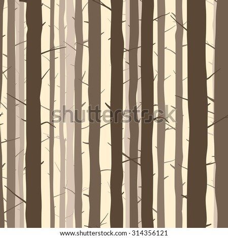 Seamless vector abstract background with many trunks of pine trees. - stock vector