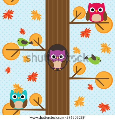 Seamless vector autumn pattern with tree and owl sitting on branches - stock vector