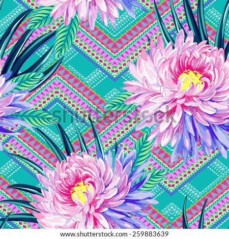 seamless vector aztec tribal print with exotic flowers. Neo-tribal trendy design with oriental chrysanthemum flowers and palm and ficus leaves.  - stock vector