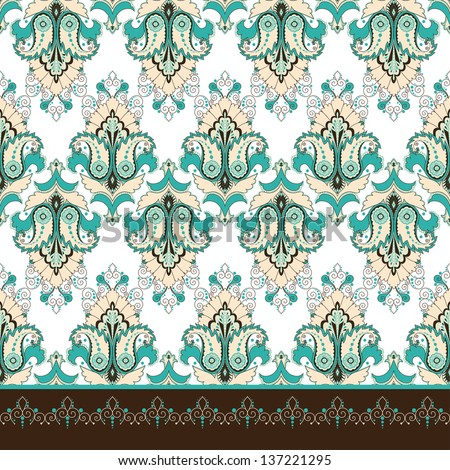 Seamless vector background and border. Oriental floral pattern and decorative items. - stock vector